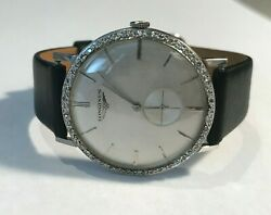 14kt White Gold 33mm Menand039s Longines Watch W/ Diamond Bezel And Black Leather Strap