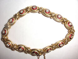 Fine Vintage red enamel guilloche 14k yellow gold bracelet solid heavy 27.4gr