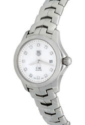 Lovely Ladies Tag-heuer Link Quartz With Date Diamond Mother Of Pearl Wristwatch