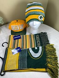 Great Bundle Green Bay Packers Big Logo Scarfs Forever Collectibles Plus Hats