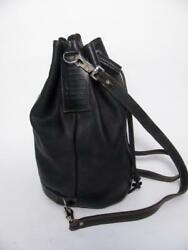 RUGBY CANADA M0851 BLACK HEAVY LEATHER DRAWSTRING BUCKET PURSE BACKPACK BAG