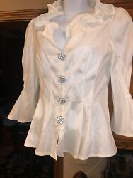 Gorgeous Elegant CHETTA B Evening White Blouse Top W Sheen Rhinestone Buttons 6 $32.00