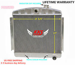Polished Kks Aluminum Radiator Fit 1955 1956 Chevy Bel Air Belair 6cyl 3 Rows