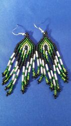 Huichol Unique Chandelier Shiny Chaquira Earrings Black, Green, And Silver Color