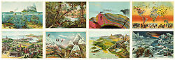Set Of 8 Geographical Study Maps L.w. Yaggy 1893 Art Posters Prints Home School