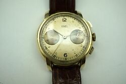 Ebel Chronograph Vintage 18k Yellow Gold Mechanical Wind Dates 1940's Buy It Now