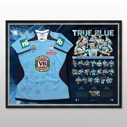 New South Wales Nsw 2014 State Of Origin Team Signed Framed Jersey Gallen Hayne
