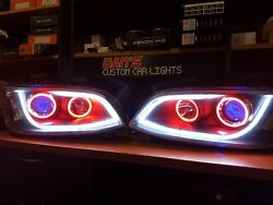 Holden Ve Commodore S2 Drl Projector Headlights With Rgb Halo Rings And Demon Eyes