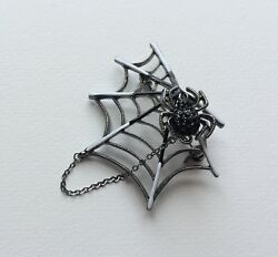Black spider spiderweb web cobweb pin brooch rhinestone Halloween accessories
