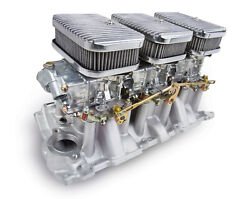 Holley 300-522 Small Block Chevy 6 Pack Carb And Intake Kit Shiny Carbs