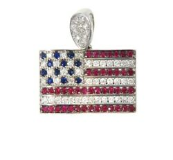 925 Sterling Silver American Flag Pendant