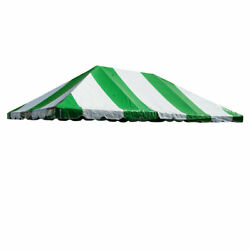 20x30' Replacement Frame Tent Canopy Top Green White Striped Waterproof Vinyl
