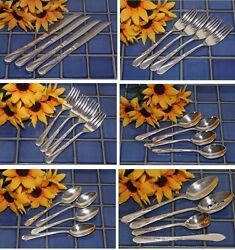Wm Rogers And Son Silverplate Spring Flower Choice Knives Forks Spoons Free Ship