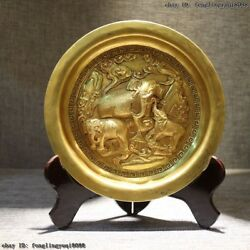 Royal Palace Old Gold Gilt Bronze Engraving Lucky Three Elephant Dish Tray Plate