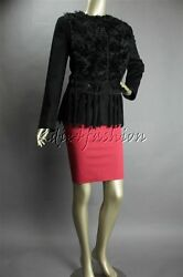 New With Tags Prada Black Mohair Fur Suede Leather Fringe Wool Jacket 42 8
