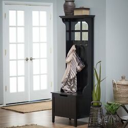 Black Entryway Mini Hall Tree Coat Rack Stand Home Furniture Decor Storage Bench
