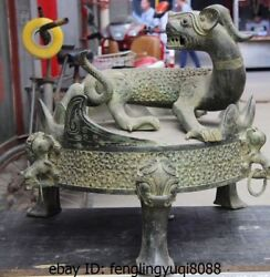 Chinese Dynasty Palace Pure Bronze Copper Sculpture Dragon Beast Unicorn Statue