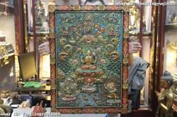 Tibet Buddhism Monastery Wood Carved Painted Four Hands Kwan-yin Tangka Screen