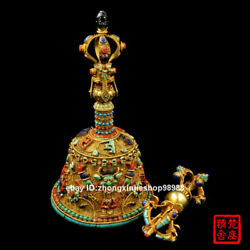 Tibet Bronze Gold inlay turquoise Red coral Ghanta and Vajra Bell FaQi Statue