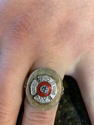 Vintage 14k Yellow Gold Fire Department New York Ring