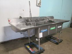 American Delphi Commercial 3 Compartment Sink W/sprayer Wand, Chem Dispenser