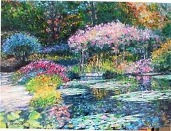 Howard Behrens Giverny Lily Pond Floral Garden Heavy Embell. List 3750 Hscoa