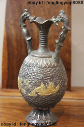 Chinese Vintage Collect Handmade Engraved Pure Silver Gilt Dragon Pot Vase Pair