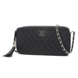 CHANEL V Stitch Chain Clutch Shoulder Calfskin Black A84443 2018Stainless ...