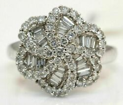 Stunning 14k White Gold Ring With 1.00 Ctw Diamonds 4.1 Grams T41