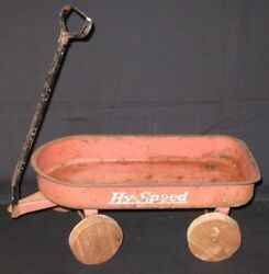 Small Antique Toy 1930's Hy-speed Metal Wagon Red Wood Wheels