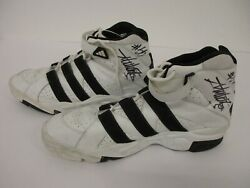 Dikembe Mutombo Nuggets Hawks Signed Game Used Basketball Shoes Cas Coa