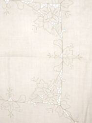 Vintage Embroidered Tablecloths - 2 Matching Ivory Linen 48 Square