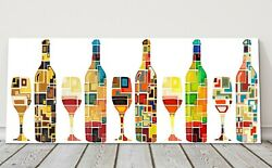 Abstract Wine Collection Bottles And Glasses Panoramic Canvas Picture Print