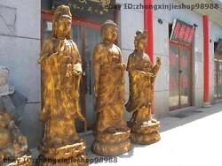 Huge Tibet Buddhist Bronze Three Saints of West Tathagata Guan yin Buddha Set