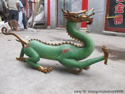 China Royal 100 Pure Bronze Cloisonne Beast Lcuky Fly Dragon Decorative Statue