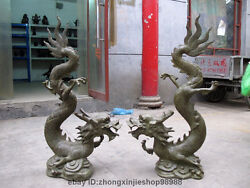 China Fengshui Bronze Copper Year Zodiac Fly Dragon Royal Decor Sculpture Pair