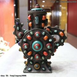 Tibet Old Copper Inlay Turquoise Coral Gem Crock Flagon Stoup Wine Pot Teapot
