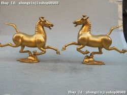 China Feng Shui 100 Pure Bronze 24k Gold Carved Horse Riding Chebi Statue Pair