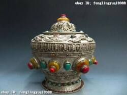 Tibet Copper And Silver Inlay Turquoise Red Coral Box Crock Jar Bottle Pot Vase