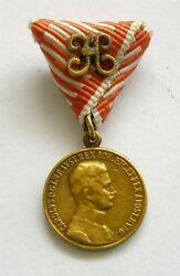 Y568 Austria Hungary Wwi For Bravery Fortitudini Karl 1917 1918 Gold Miniature