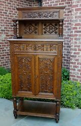 Tall Antique French Bookcase Cabinet Gothic Vestry Altar Wine Bar Carved Oak