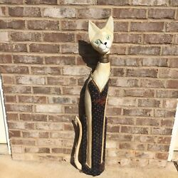 Large Bobble Head Carved Wood Cat Statue Figurine Hand Made