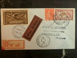 1925 Bourget France Airmail Cover To Bruxelles Belguim Aviation Day Gold Label