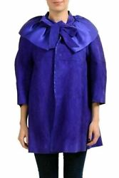 Dsquared2 100 Goat Leather Purple Womenand039s Button Down Basic Coat Us Xs It 38