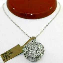 GORGEOUS 14K WHITE GOLD HEART PENDANT WITH 2.36 CTW DIAMONDS AND CHAIN! #C07
