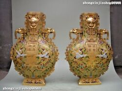 Royal 100% pure Bronze cloisonne 24K Gold Crane Longevity Blessing Vases pair