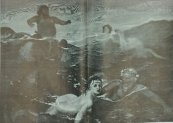 Mermaids, Mermen And Centar Playing In The Water. Nude Women. Antique Print 1916