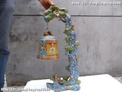 China Royal Palace 100 Pure Bronze Copper Cloisonne Peace Pine Tree Bell Statue