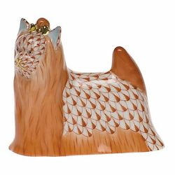 HEREND YORKSHIRE TERRIER PORCELAIN DOG FIGURINE RUST FISHNET FLAWLESS