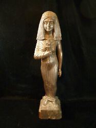 Rare Beautifully Carved Egyptian Revival Wood Figurine Of Cleopatra - Circa 1925